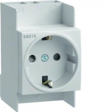 Gniazdo modułowe Schuko 10/16A 250V AC na szynę I kl. izolowane SN016