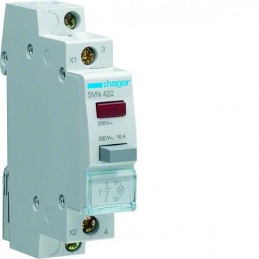Przełącznik przyciskowy z lampką czerwoną 16A 0Z 1R SVN422