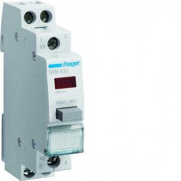 Przełącznik przyciskowy z lampką czerwoną 16A 2Z 0R SVN432