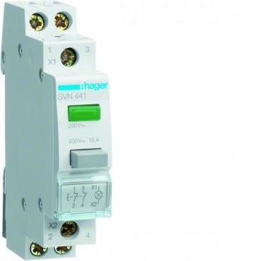 Przełącznik przyciskowy z lampką zieloną 16A 2R SVN441