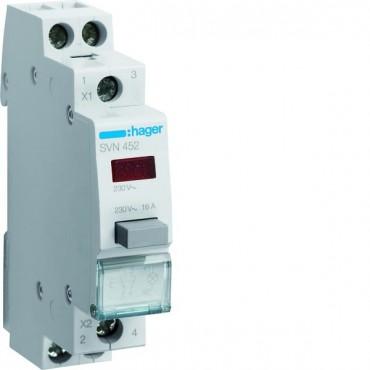 Przełącznik przyciskowy z lampką czerwoną 16A 1Z 1R SVN452