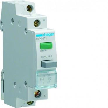 Przełącznik przyciskowy z lampką zieloną 16A 1Z 230V AC SVN411