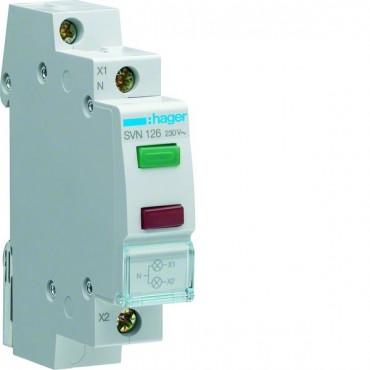 Lampka modułowa zielona/czerwona 230V AC SVN126