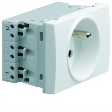 Systo Gniazdo pojedyncze przelotowe z/u 16A 250V 2P+Z 3 moduły białe WS121