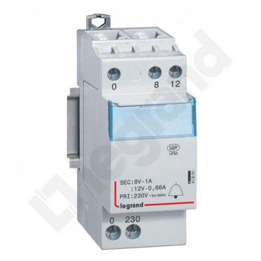 Transformator dzwonkowy modułowy TR308 230/12/8V 8VA 0,66/1A 413091