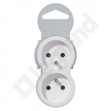 HELMO Rozgałęźnik wtyczkowy pionowy 2x2P+Z  biało-szary 50638