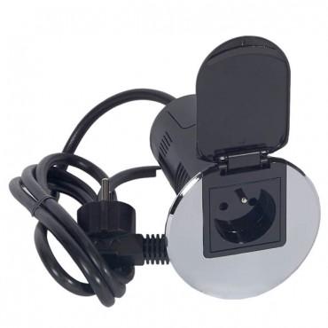 Przepust biurkowy 1x2P+Z 16A 250V + ładowarka USB 5V 1000mA metaliczny 054057