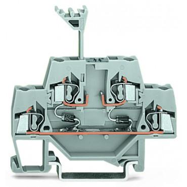 Złączka szynowa 2-piętrowa diodowa 2,5mm2 szara 280-942/281-488