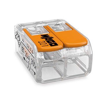 Szybkozłączka 2x0,2-4mm2 transparentna / pomarańczowa 221-412 /100szt./