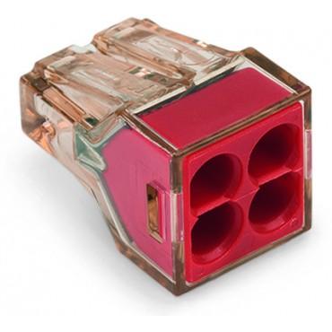 Szybkozłączka 4x 1,5-4mm2 przeźroczysta czerwona 773-604 /100szt./