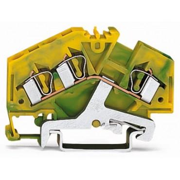 Złączka szynowa PE 3-przewodowa 4mm2 żółto-zielona 281-637