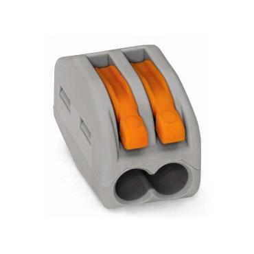 Szybkozłączka 2x 0,08-4mm2 z dźwigniami zwalniającymi jasnoszara 222-412 /50szt./