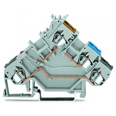 Złączka szynowa z LED do czujnikow PNP 2,5mm2 szara 280-560/281-434