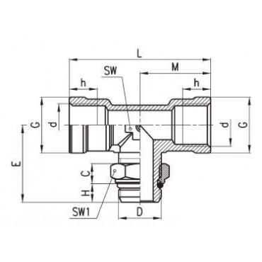 Złączka gwintowana W-Z C-TRUCK trójnik typu T model D2062