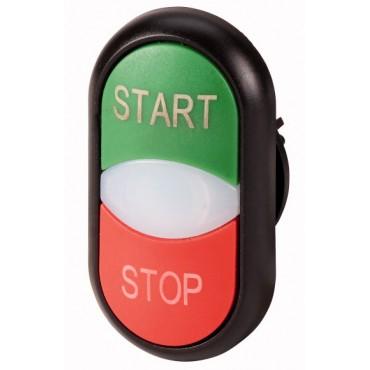 Napęd przycisku podwójny zielony/czerwony START-STOP z podświetleniem z samopowrotem M22S-DDL-GR-GB1/GB0 216703