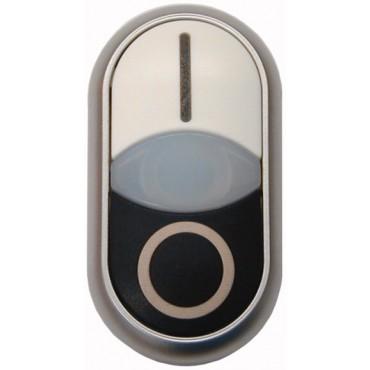 Napęd przycisku podwójny biało/czarny /O-I/ z podświetleniem z samopowrotem M22-DDL-WS-X1/X0 216706