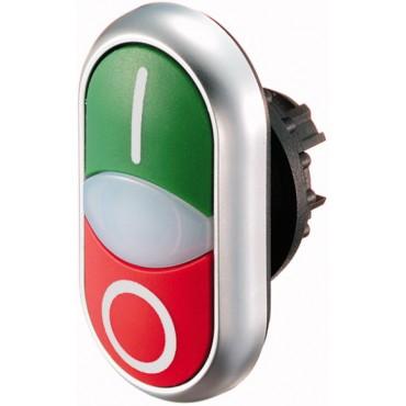 Napęd przycisku podwójny zielony/czerwony /O-I/ z podświetleniem z samopowrotem M22-DDL-GR-X1/X0 216700