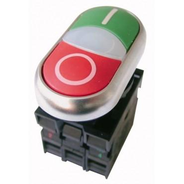 Przycisk sterowniczy 22mm podwójny czerwony/zielony z samopowrotem z podświetleniem 1Z 1R M22-DDL-GR-X1/X0/K11/230-W 216509