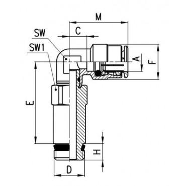 Szybkozłącze wtykowe kątowe Sprint 6525 Camozzi