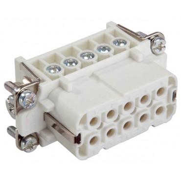 Wkład złącza 10P+PE żeński 16A 250V EPIC H-A 10 BS 10441000