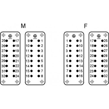Wkład złącza 16P+PE żeński 16A 250V EPIC H-A 16 BS 17-32 DR PH1 10541000