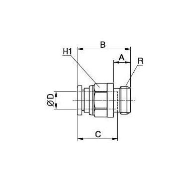 Szybkozłącze G-Fitting wtykowe proste Sang-A GPC z uszczelnieniem O-Ring przewód 12 mm gwint 1/4