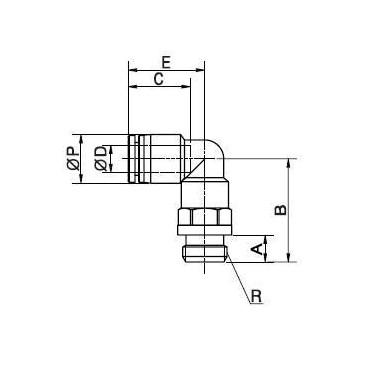 Szybkozłącze G-Fitting wtykowe kątowe Sang-A GPL-G przewód 6 mm gwint 3/8