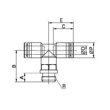 Szybkozłącze G-Fitting wtykowe trójnik Sang-A GPT-G przewód 4 mm gwint 1/8