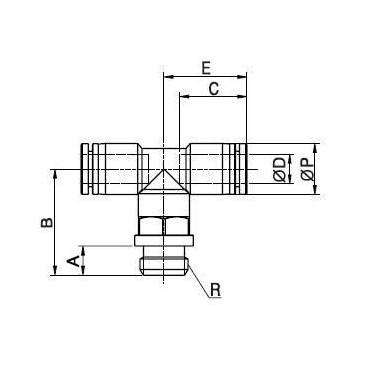 Szybkozłącze G-Fitting wtykowe trójnik Sang-A GPT-G przewód 4 mm gwint 1/4