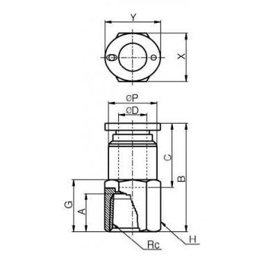 Szybkozłącze G-Fitting wtykowe proste Sang-A PCF-G przewód 10 mm gwint 1/4