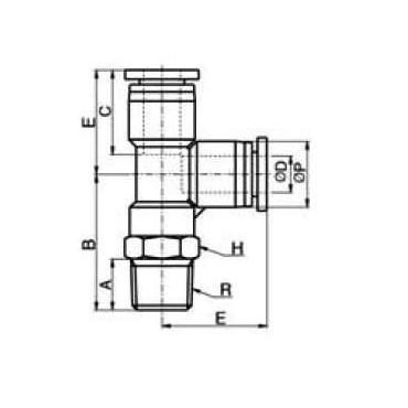 Szybkozłącze G-Fitting wtykowe, trójnik kątowy Sang-A  G-PST przewód 6 mm gwint 3/8