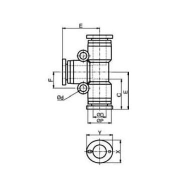 Szybkozłącze G-Fitting wtykowe, trójnik T Sang-A GPUT przewód 10 mm