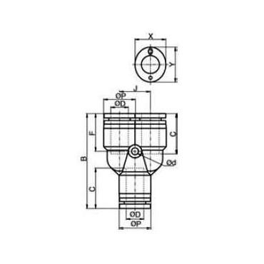 Szybkozłącze G-Fitting wtykowe, trójnik typu-Y Sang-A GPY przewód 4 mm