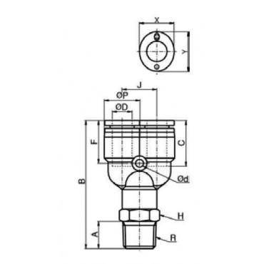 Szybkozłącze G-Fitting wtykowe, trójnik typu-Y Sang-A GPWT przewód 6 mm gwint 1/4