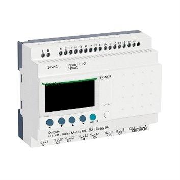 Przekaźnik inteligentny modułowy Zelio Logic - 24 we/wy - 24 V AC - zegar - wyświetlacz SR3B261B