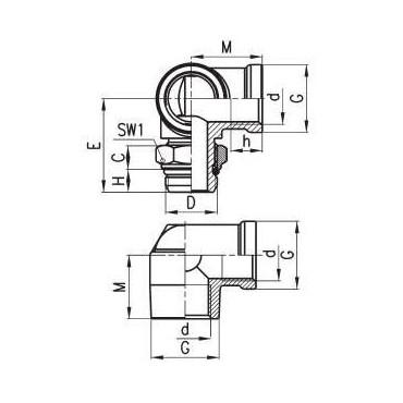 Złączka gwintowana W-Z C-TRUCK trójnik typu L model D2077