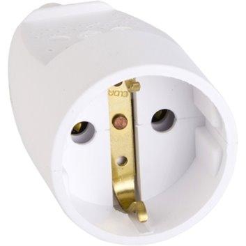 Gniazdo przenośne Schuko z odgietką białe IP20 S14001