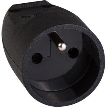 Gniazdo przenośne pojedyncze z/u 16A IP20 czarne S-131 S13105