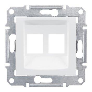 Sedna Płytka do gniazda komputerowego podwójnego RJ45 kat.5e UTP biała SDN4400621