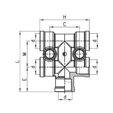 Złączka rozdzielacza 4+1 C-TRUCK model D3043
