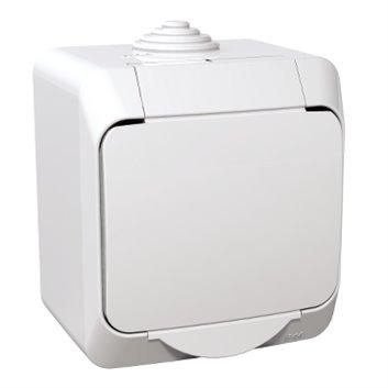 Cedar Plus Gniazdo pojedyncze biały z/u 16A IP44 WDE000540