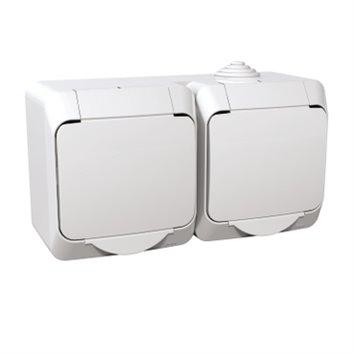 Cedar Plus Gniazdo hermetyczne podwójne z/u z klapką i przesłonami 16A IP44 białe WDE000522