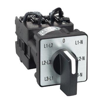 Przełącznik piórk. krzywkowy woltomierza, 3L i 3L-N, 45°, 12A, moc. śrub. K1F027MLH