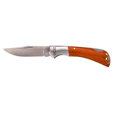 Nóż uniwersalny ostrze 80mm blokada ostrza drewniane okładki składany 98Z007