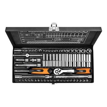 Klucze nasadowe 1/4cala zestaw 63 elementy metalowa walizka 08-679