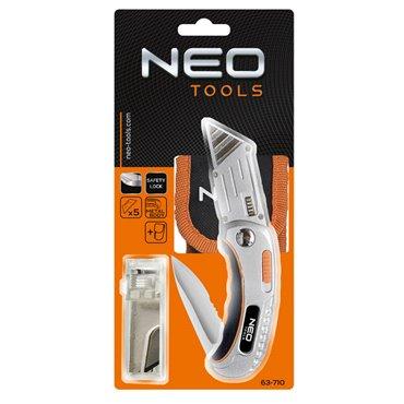 Nóż uniwersalny składany, ostrze trapezowe + nóż, nylonowe etui + 5 ostrzy Neo 63-710