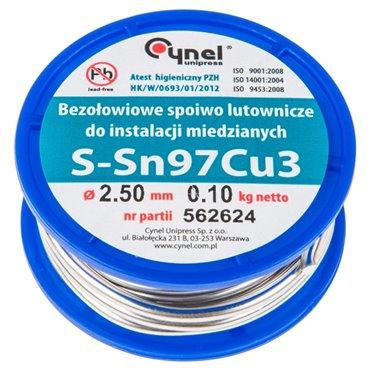 Spoiwo lutownicze 97% Sn 3% Cu drut 2,5 mm 100 g 44E742