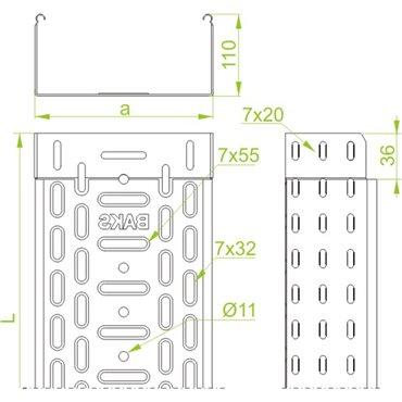Korytko kablowe perforowane 100/110 głubość 0,7mm KGL100H110/3 120110 /3m/