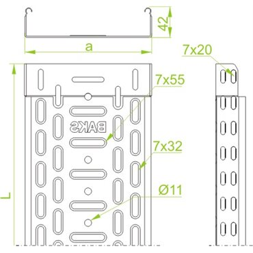 Korytko kablowe perforowane 100/42 głubość 0,7mm KGL100H42/2 140117 /2m/