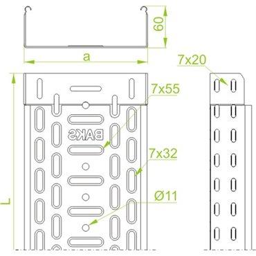 Korytko kablowe perforowane 150/30 głubość 0,5mm KGR150H60/3 161616 /3m/